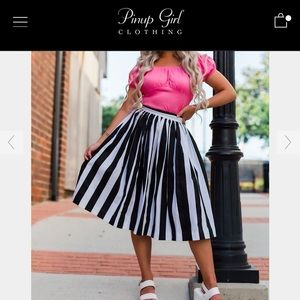 Pin-Up Girl Clothing Bella mark stripe skirt